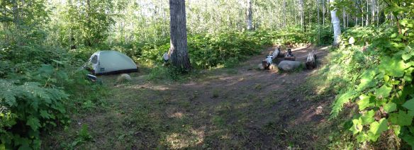Campsite at Hatchet Lake - the best so far.